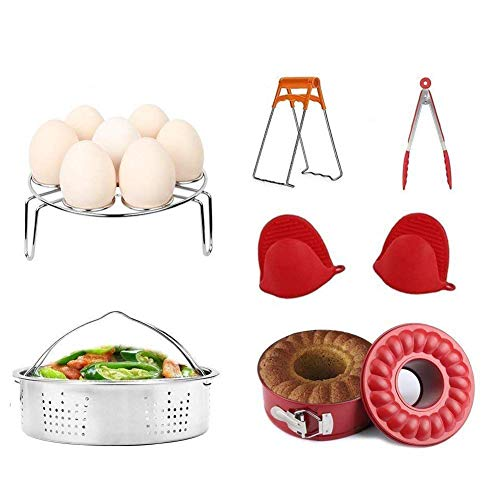 Pressure Cooker Accessories Set 6 Pieces Value Pack Fits 5, 6, 8 QT Pressure Cooker. Steamer Basket, Springform Pan, Egg Steamer Rack, Steaming Stand, Kitchen Tongs and 1 Pair Silicone Cooking Pot (Healthiest Pots And Pans On The Market)