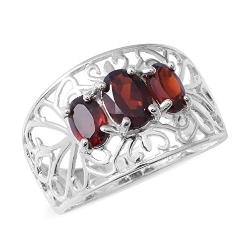 (925 Sterling Silver Oval Garnet Statement Ring for Women Jewelry Gift Size 8 Cttw 1.7)