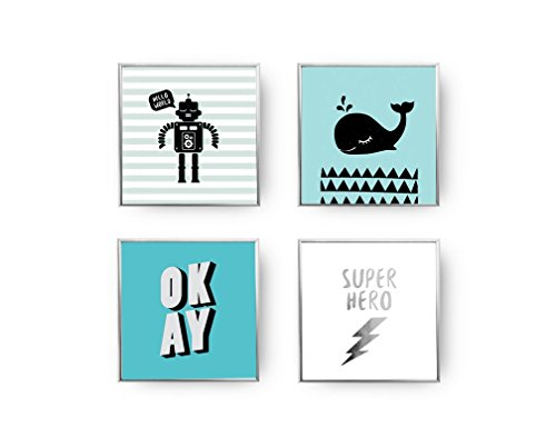 SET of 4 Prints, Boys Room Set, Gold Foil Print, Super Hero Poster, Robot Print, Whale Poster, Typography Poster, Home Decor, Kids Wall ()