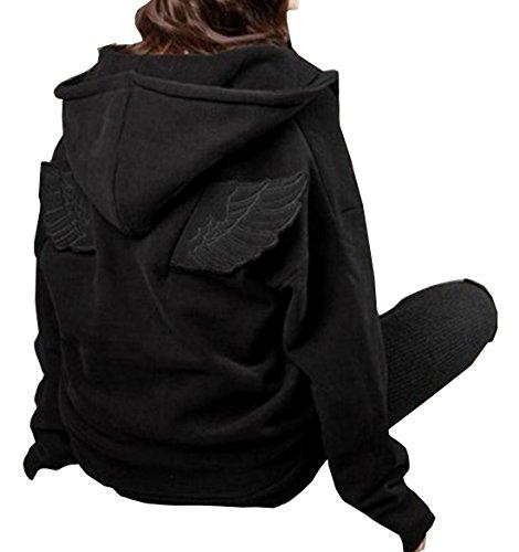 LANMWORN Women Front Zipper Angel Wings Long Sleeve Fleeces Pockets Hoodie Hooded Sweatshirt Tunic Jacket Coat