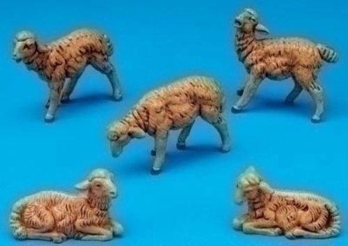 Fontanini Brown Sheep Italian Nativity Village Figurines Set of 5 52539 - Figurine Nativity Christmas Sheep