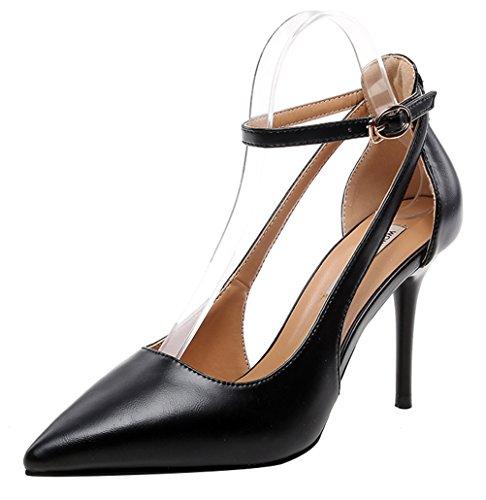 T&Mates Womems Patent Leather Point Toe Ankle Buckle Strap Cutout Pumps Stiletto Heels Shoes (8 B(M)US,Black)