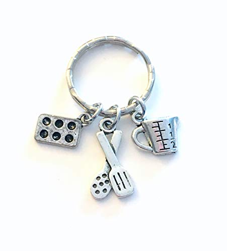 Baking Keychain, Gift for Chef or Baker Key Chain, Retirement or Graduation Present for Cook, Pastry Chef, Culinary Instructor, or Cooking Teacher
