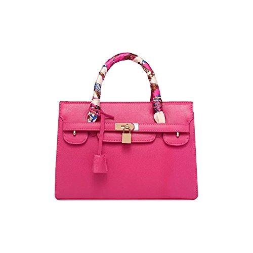 Bolso de Mano Dama Rosa Rojo Bolso Moda Grande Moda Piel PU Chica Grande Bolso Capacidad Bandolera Tisdaini 1wEO1