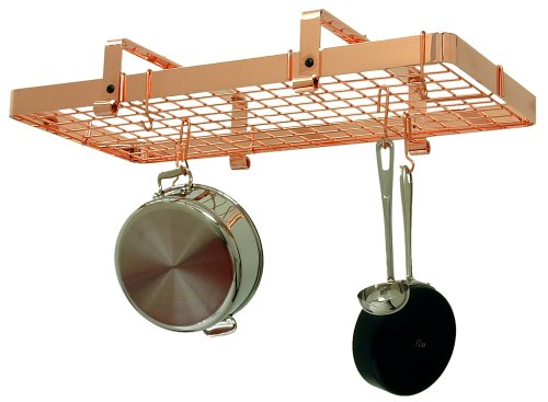 Copper Low Grid Rack - Enclume Low Rectangle with Grid Premier Ceiling Rack, Copper