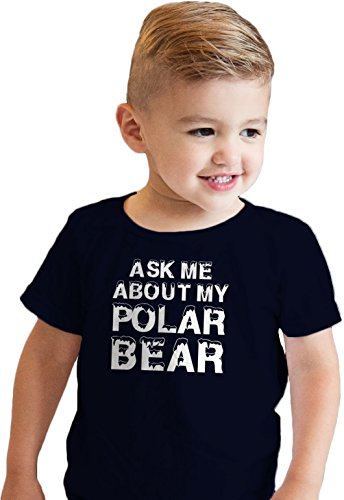 Toddler Ask Me About My Polar Bear Cool Animal Face Flip up T Shirt (Blue) 3T