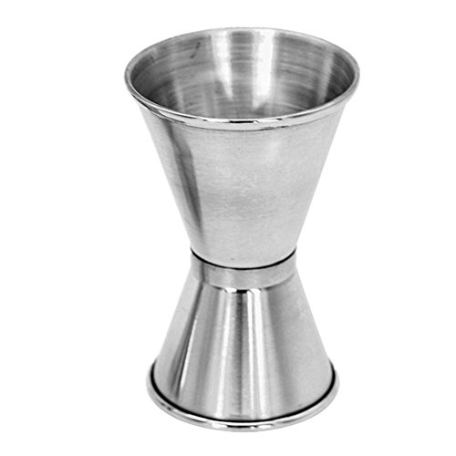 (Yeefant 1Pcs 20/40ML Stainless Spirit Cocktails Double Head Crimping Round Measuring Cup Jigger Alcohol Bartending Bar Tools,Silver)