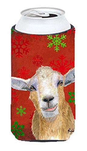 Red Snowflakes Goat Christmas Tall Boy Beverage Insulator Beverage Insulator Hugger RDR3024TBC