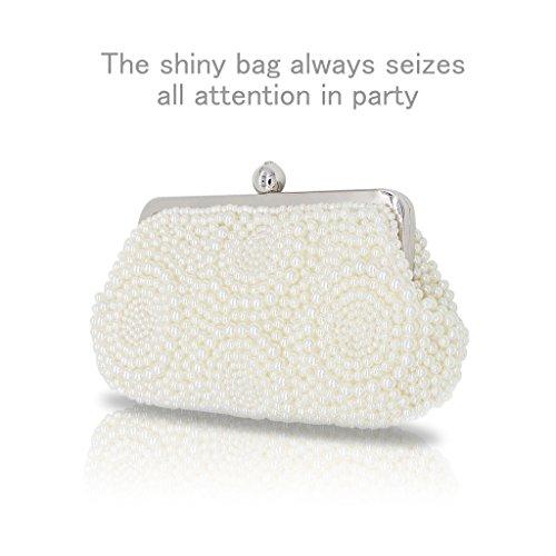 Artemis'Iris Pearl retro bolsa de embrague bolso nupcial de bolsillo de diamantes Encrusted metal abridor para las mujeres White