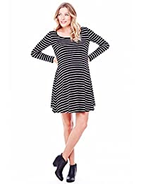 Ingrid & Isabel Women's Maternity Long Sleeve Stripe Trapeze Dress