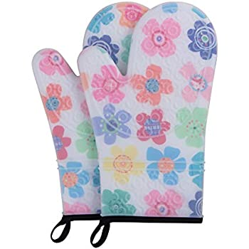 webake Oven Mitts Set of 2 Oven Gloves Heat Resistant 500 Degree with Transparent Clear Silicone Shell and Quilted Cotton Lining -Model 2