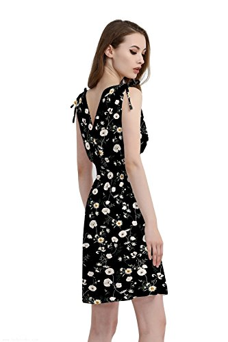 Jinhuanshow Women's Low Cut Printed Above Knee Sleeveless Dresses(L,Chamomile)