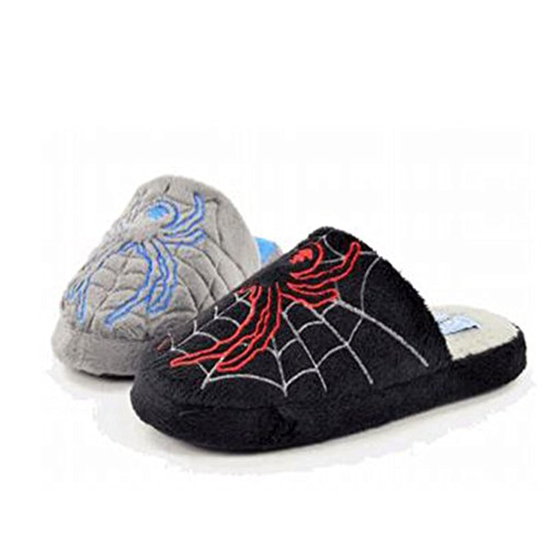 Boy's Children's Kid's Spider Mule Novelty Slippers Grey Black NEW Infant UK 10-2.5 (UK 1, Grey)