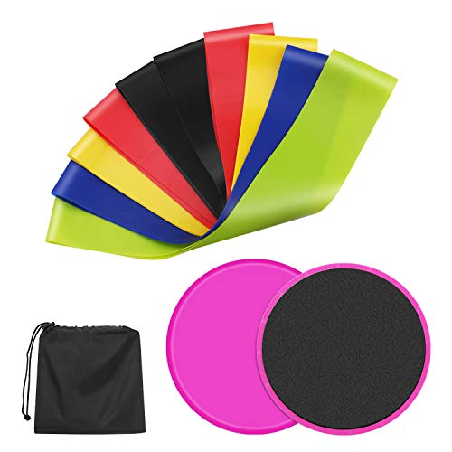 (5 Resistance Bands and 2 Core Sliders Fitness Kit, Double Sided Gliding Discs and Resistance Loop Exercise Bands and Floor Gliders for Home Gym Workout)