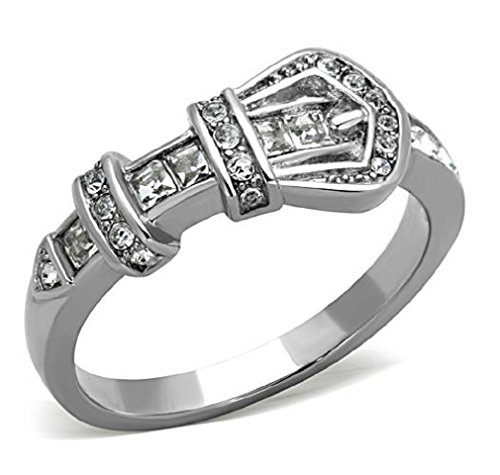 Buckle Fashion Ring (Stainless Steel Sparkling Belt Buckle Fashion Ring, Size 8)