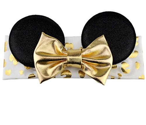 Minnie Mouse Inspired Elastic Headwrap Headband With Sequin Bow for Baby And Toddlers (Gold Metallic Bow w/ Gold Ears)