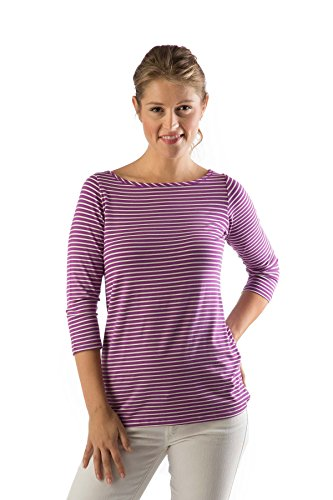 Natural Stripe Shirt - Yala KBT1120 Large Orchid/Natural Stripe BambooDreams 'Kai' 3/4 Sleeve Boatneck Top
