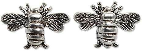 NOVICA .925 Sterling Silver Bee Motif Handmade Button Earrings, 'Happy Honeybee'