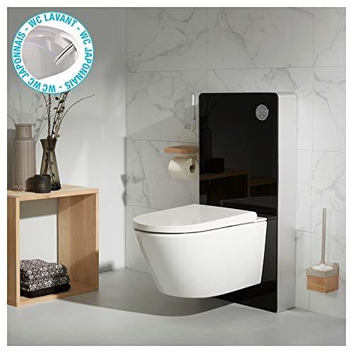 Pack de WC con Tapa Lavadora, Frontal de Cristal Negro y WC ...