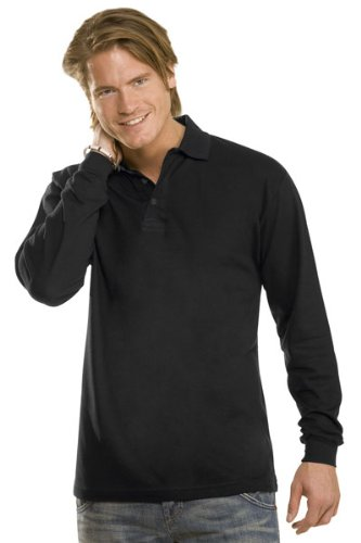 Basic Langarm-Poloshirt von Stedman L,Schwarz