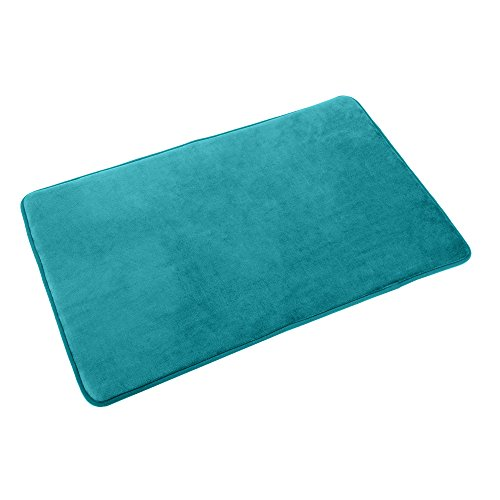 "Clara Clark Memory Foam Bathrug – Teal Blue, Bath Mat and Shower Rug Large 20"" x 32"" Inches, Non Slip Latex Free Plush Microfiber. Comfortable, Beautiful and Maximum Absorbency."
