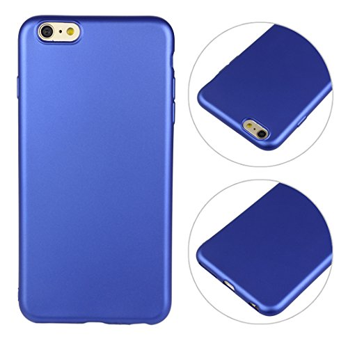 iPhone 6 Plus Case, iPhone 6S Plus Cover, HuaForCity Soft TPU Back Case Cover Solid Color Smooth Fashion Protective Shell Ultra Thin Anti Scratch Bumper Skin for iPhone 6 Plus/6S Plus-Blue