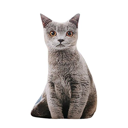 CUCUHAM 1 pc 50cm Stuffed 3D Simulation Cat Pillow 4 Styles Funny Gray Cat Toy Lovely ()