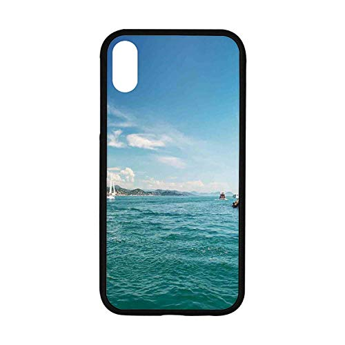 (Lighthouse Rubber Phone Case,Day by The Seaside Sailboats Lighthouse Rocks Clear Sea Clouds Island Seascape Decorative Compatible with iPhone XR)