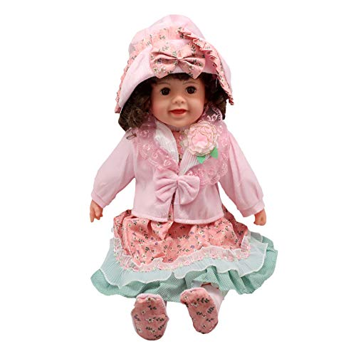 """Forest & Twelfth Kids 25"""" Vintage Style Sitting Dolls for Girls, Vinyl + Soft Body, Pretend Play Toy 