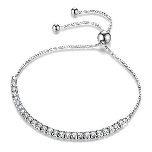 Likimar Adjustable Women Bracelets Round Cut Cubic Zirconia Slider Tennis Bracelet for Women (Adjustable Sliders)