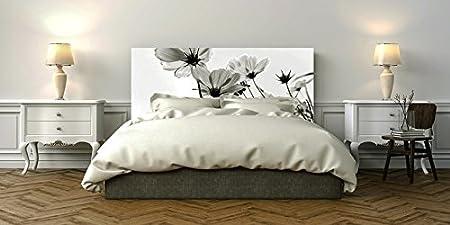 Flores Blancas y Negras 100 x 60 cm Cabecero Original y Econ/ómico Cabecero Cama PVC Impresi/ón Digital