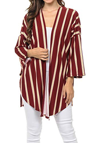 Auliné Collection Womens USA Made Casual Cover Up Cape Gown Robe Cardigan Kimono STSLT1 VT Stripe Burgundy L