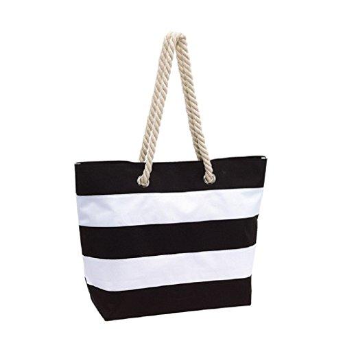 GWELL Damen Streifen Strandtasche Schultertasche mit Reißverschluss Sommer Tasche Beachtasche Damentasche Handtasche Urlaub rot schwarz