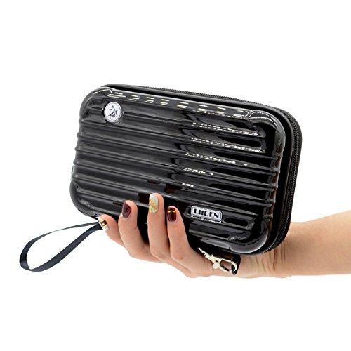 LIIREN Womens Handbag Cosmetic Bag Makeup Box Case Overnight Bag Birthday Xmas Gift Black