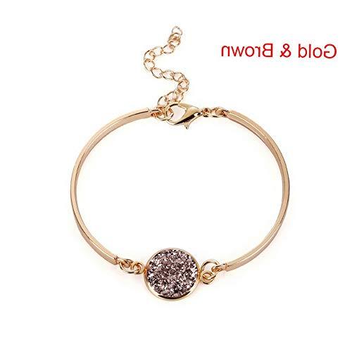 (Werrox New Women Crystal Quartz Druzy Bracelet Natural Stone Charm Cuff Bangle Jewelry | Model BRCLT - 23282 |)