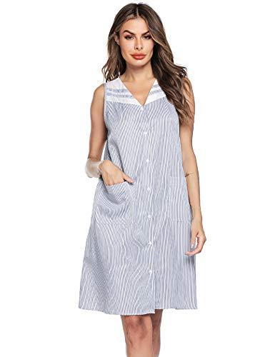 Ekouaer Sleepwear Womens Button Down Sleeveless House Dress Long Nightgown Large Navy Blue