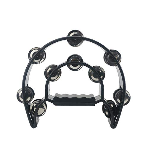 Ogrmar Double Row Handled Tambourine Metal Jingles Hand Held Percussion Drum with Ergonomic Handle Grip for Gift KTV/Party/Kids Toy (Black)
