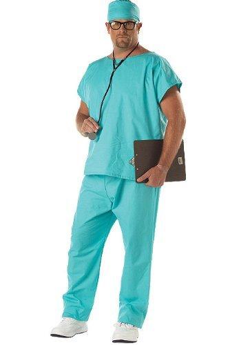 California Costumes Men's Doctor Scrubs Costume,Green,P (48-52) (Plus Size Doctor Scrubs Costumes)