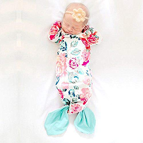 KIDS TALES Baby Sleeping Bag Floral Mermaid Tail Infant Nightgowns Wearable Blanket Baby Sleeper Gowns Breathable Cotton Baby Pajamas for Girls Boys Summer 8-12Month (S)
