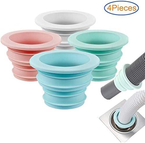 Leikance Silikon-Rohrdichtungsstopfen, Abflussrohr, Abdichtungsschlauch, einziehbar, für Küche, Badezimmer, 4 Stück