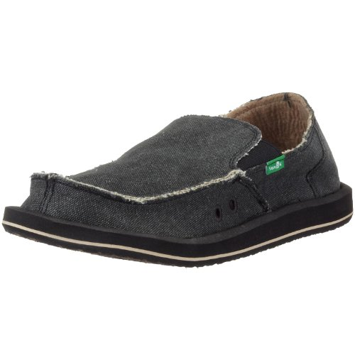 Sanuk Men's Vagabond Slip On, Charcoal, 12 M US