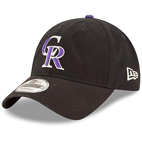(Colorado Rockies New Era Game Replica Core Classic 9TWENTY Adjustable Hat Black)
