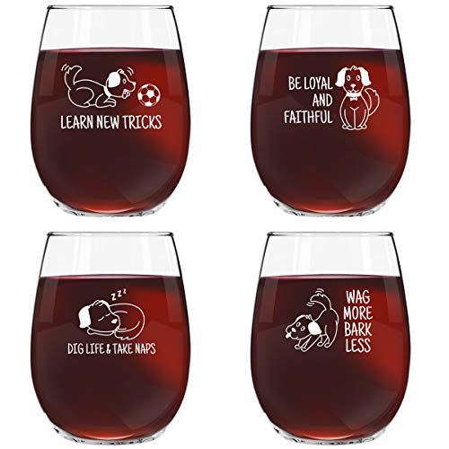 Dog Wisdom Novelty Stemless Wine Glasses Set of 4 | Funny Dog Themed Messages for Pet Owners and Wine Lovers | 15 oz. Funny Dog Wine Glass with Cute Messages | Dishwasher Safe | Made in USA