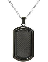 Men's Black Stainless Steel and Carbon Fiber Dog Tag...