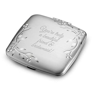 Things Remembered Personalized Silver Leaves And Vines Compact Makeup Mirror With Engraving Included