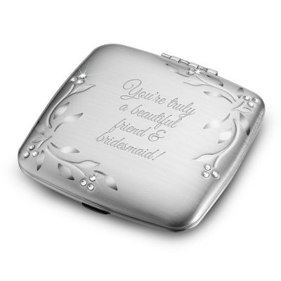 (Things Remembered Personalized Silver Leaves and Vines Compact, Makeup Mirror with Engraving Included)
