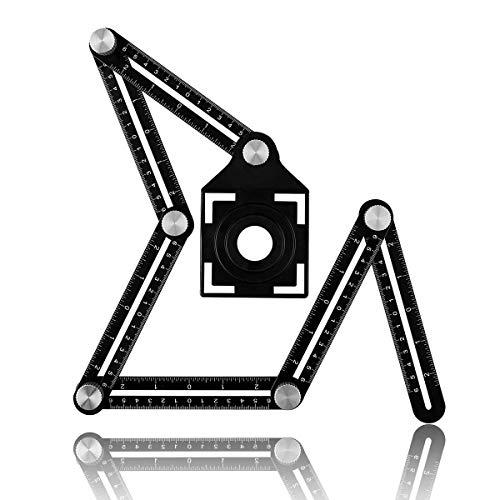 Vencetmat Universal Angle Ruler with Tile Positioning Aperture, Aluminum Alloy Multi Angle Measuring Ruler Angularizer Template Tool for Carpentry, Bricklayer, Craftsmen, Handymen,DIY ()