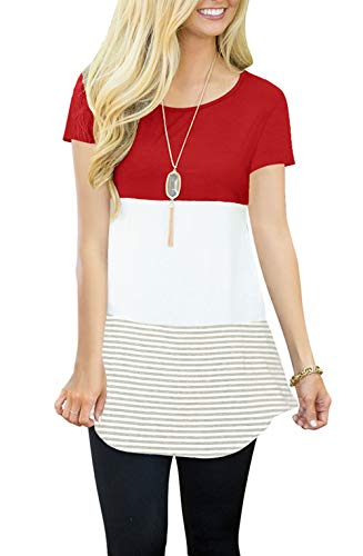JomeDesign Short Sleeve Shirts for Women Color Block Striped Tunic Top Casual Blouse Red Large (Color Block Tunic)