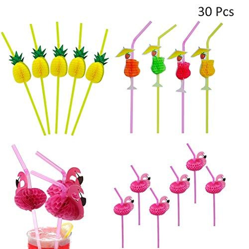 DreamJ 30pcs Hawaii Party Straw Set, 10 Packs Flamingo Straws +10 Packs Pineapple Straws +10 Packs Goblet Straws 3D Decoration Pink Striped Degradable Straw for Party Supplies Party Decoration ()