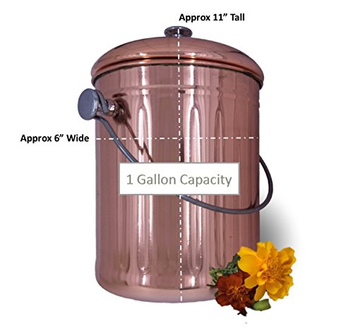 Kitchen Countertop Compost Bin with Lid Copper Plated Stainless Steel Pail with Bonus 1 Years Worth of Activated Charcoal Filters 1 Gallon